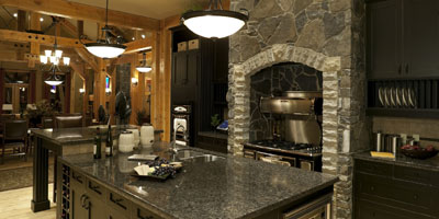 kitchen with fireplace and island